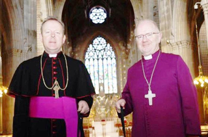 Arzobispos Anglicano y Católico Romano, durante el lanzamiento de una campaña de donantes de órganos a principios de 2015 (foto: ACNS).